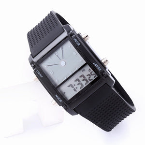 Square Dial Dual Time Day Display Colorful LED Sports Wrist Watch