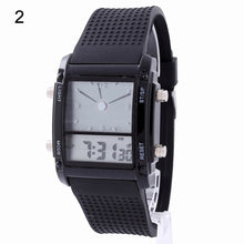 Load image into Gallery viewer, Square Dial Dual Time Day Display Colorful LED Sports Wrist Watch