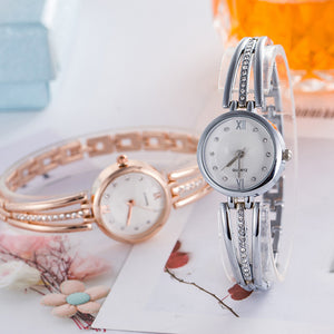 Luxury Rhinestone Round Dial Analog Quartz Slim Wrist Watch