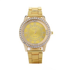 Rhinestone Roman Numerals Alloy Band Round Analog Quartz Watch