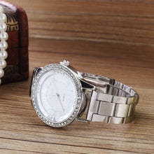 Load image into Gallery viewer, Rhinestone Roman Numerals Alloy Band Round Analog Quartz Watch