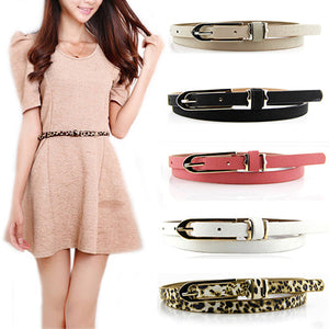 Fashion Lady Women Faux Leather Thin Skinny Buckle Belt Waistband