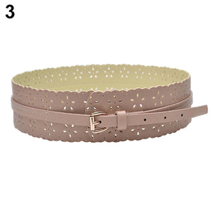 Women's Fashion Leather Hollow Flower Waist Belt