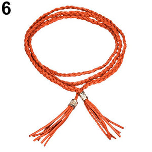 Bohemia Faux Leather Tassel Fashion Ladies Braided Belt