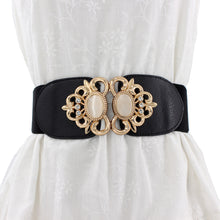 Load image into Gallery viewer, Fashion Metal Buckle Faux Opal Inlaid Elastic Sash Belt