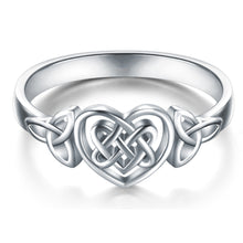 Load image into Gallery viewer, Simple Carved Hollow Heart Celtic Knot Ring