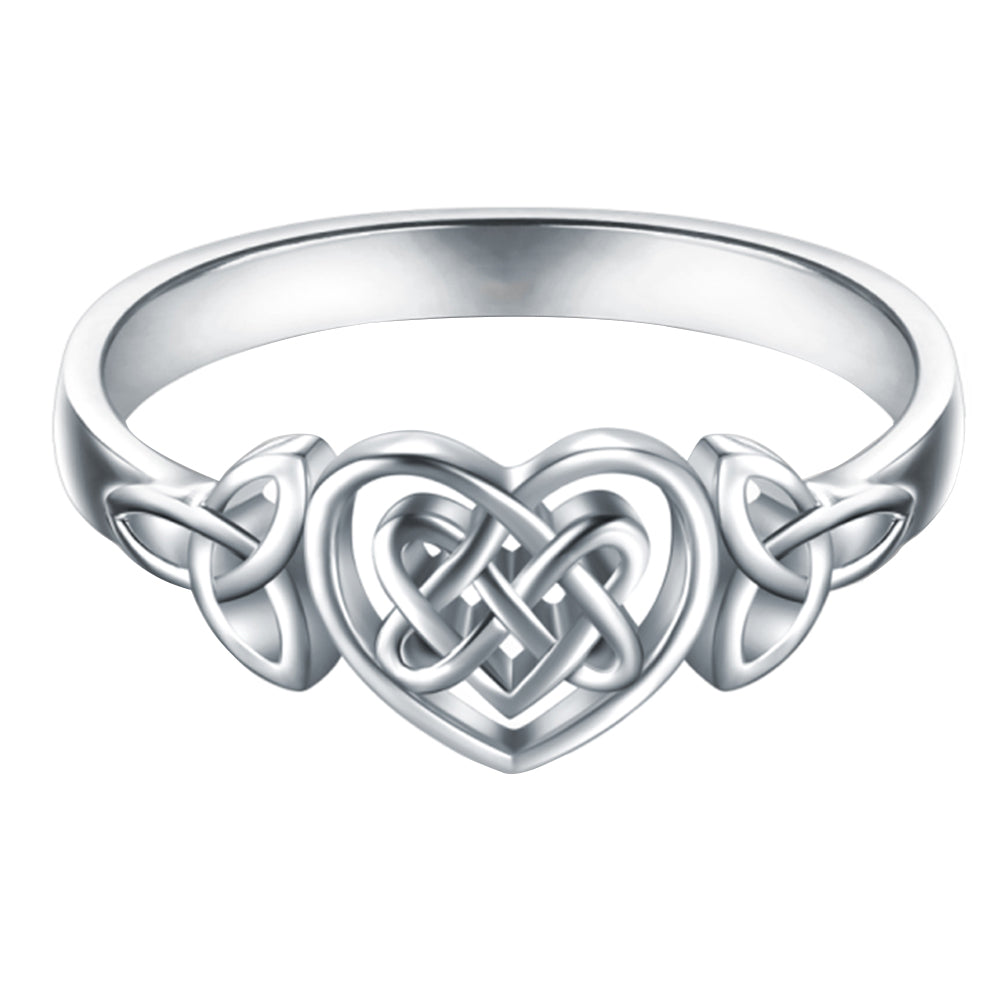 Simple Carved Hollow Heart Celtic Knot Ring