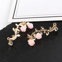 Load image into Gallery viewer, Vintage Rose Flower Branch Rhinestone Climber Earrings