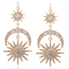 Load image into Gallery viewer, Luxury Sun Moon Drop Earrings