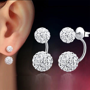 1 Pair U-shape Double Beaded Rhinestone Ball Stud Earrings