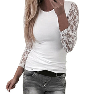 Women's Solid Long Sleeve Lace Stitching O-Neck T-Shirt