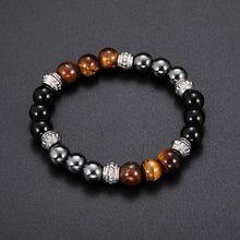 Load image into Gallery viewer, Unisex Pumice Tiger Eye Stone Bead Bracelet
