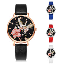 Load image into Gallery viewer, Fashion Flower Dial Faux Leather Band Quartz Wrist Watch