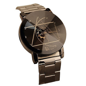 Stainless Steel Geometry Round Quartz Analog Wrist Watch