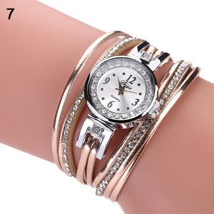 Retro Rhinestone Multilayer Faux Leather Analog Quartz Bracelet Wrist Watch