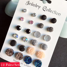 Load image into Gallery viewer, 12Pairs/Set Charming Round Rhinestone Flower Stud Earrings