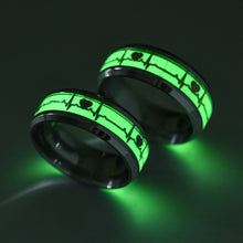 Load image into Gallery viewer, Glow in The Dark Heart Rate Electrocardiogram Stainless Steel Couple Ring
