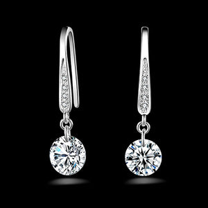 Sterling Silver Rhinestone Dangle Earrings