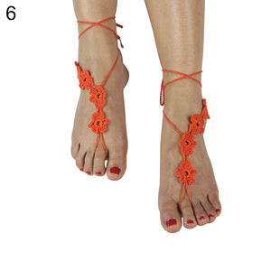 Fashion Women Crochet Flower Barefoot Sandals Anklet Chain