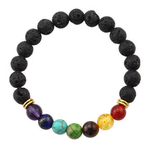 Load image into Gallery viewer, Unisex Colorful Lava Rock Round Beaded Agate Bracelet