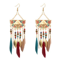 Load image into Gallery viewer, Boho Geometric Fan Shape Tassel Beaded Feather Earring