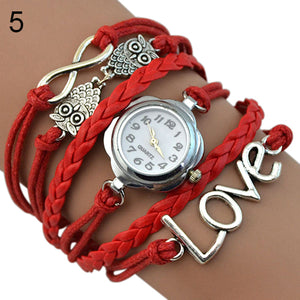 Infinity Love Knitting Multilayer Faux Leather Quartz Bracelet Watch