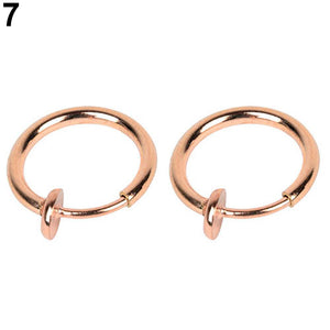 2 Pcs Fake Clip on Spring Multi-Use Ring Earring Non Piercing