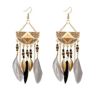 Boho Geometric Fan Shape Tassel Beaded Feather Earring