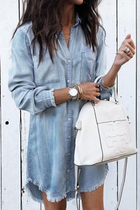 Long Sleeve Loose Denim Shirt Dress