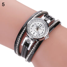 Load image into Gallery viewer, Retro Rhinestone Multilayer Faux Leather Analog Quartz Bracelet Wrist Watch