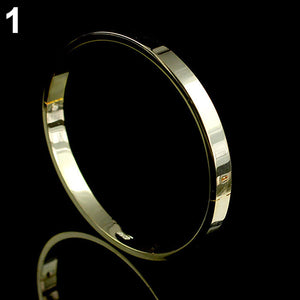 Unisex Simple Titanium Steel Plain Cuff Bangle Bracelet
