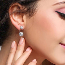Load image into Gallery viewer, 1 Pair U-shape Double Beaded Rhinestone Ball Stud Earrings