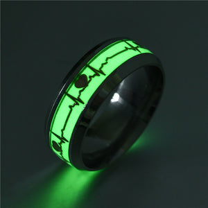 Glow in The Dark Heart Rate Electrocardiogram Stainless Steel Couple Ring