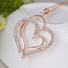Load image into Gallery viewer, Romantic Double Heart Rhinestone Necklace