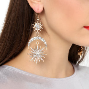 Luxury Sun Moon Drop Earrings