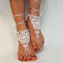 Load image into Gallery viewer, Cotton Knit Crochet Barefoot Sandals Beach Anklet Chain