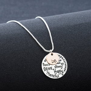 "Two-Tone ""Be"" Graffiti Charm Pendant Necklace"