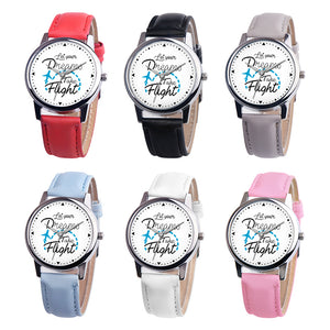 Faux Leather Band Casual Round Quartz Wrist Watch