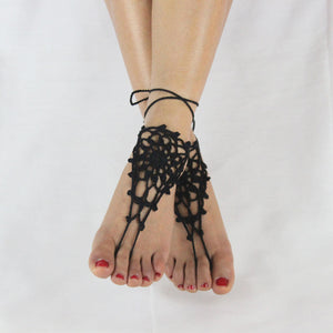 Cotton Knit Crochet Barefoot Sandals Beach Anklet Chain