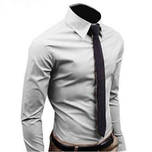 Load image into Gallery viewer, Men's Long Sleeve Cotton Solid Color Business Slim Fit
