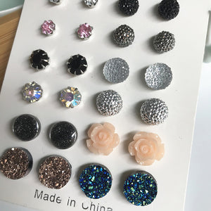 12Pairs/Set Charming Round Rhinestone Flower Stud Earrings