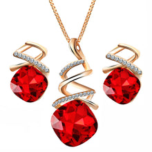 Load image into Gallery viewer, Spiral Square Rhinestone Jewelry Set