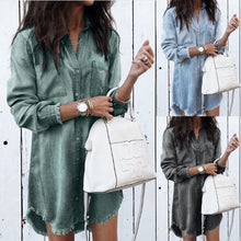 Load image into Gallery viewer, Long Sleeve Loose Denim Shirt Dress