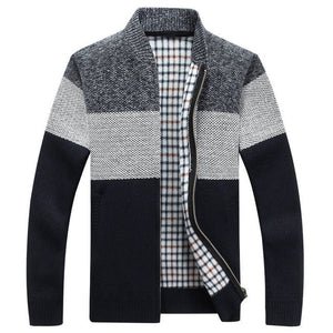 Men's Thick Cardigan Gradient Knitted Zipper Coat