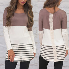 Load image into Gallery viewer, Fashion Back Lace Blouse Striped Long Sleeve Tunic
