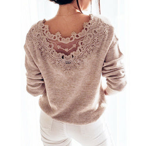 Elegant Lace Backless Long Sleeve Knitted Sweater