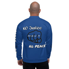 Load image into Gallery viewer, BLM Series - No Justice No Peace Blue Bomber Jacket