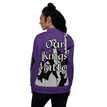 Load image into Gallery viewer, BLM Series- We Stand By Our Kings Purple Bomber Jacket
