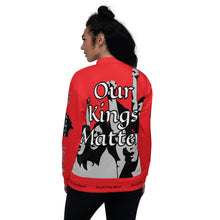 Load image into Gallery viewer, BLM Series- We Stand By Our Kings Red Bomber Jacket