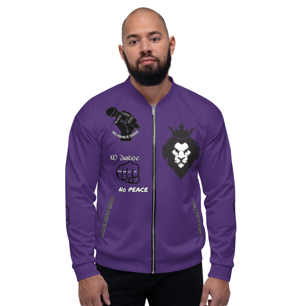 BLM Series - No Justice No Peace Purple Bomber Jacket